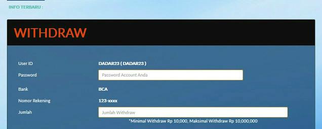 info mengenai withdraw akun sbobet